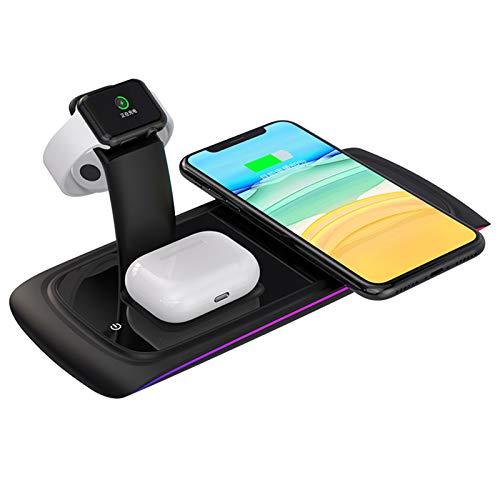 LTLJX Almohadilla de Carga del Cargador Inalámbrico, Estación de Carga Inalámbrica 3 en 1 Compatible con iPhone 12/11/XR/XS,AirPods Pro Samsung Galaxy S10 / S9 / S8,Negro