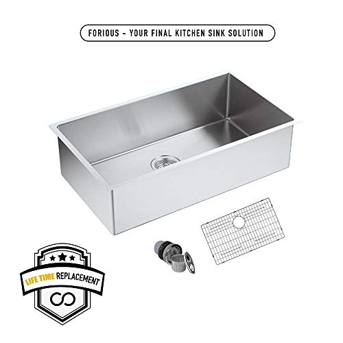 FORIOUS 30 Undermount kitchen Sink, 16 Gauge Stainless Steel...
