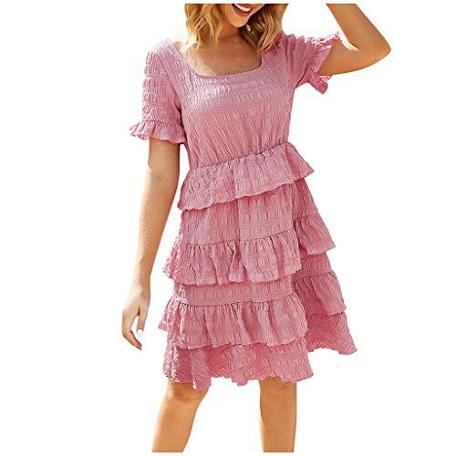 Longra jurk voor vrouwen, explosierok, bloemenmotief, cakejurk, korte mouwen, onregelmatige jurk, ronde hals, sexy, smal