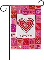 フラッグ バレンタインデーカラフルなグリッド愛とキスガーデンフラグバナー屋外ホームガーデンフラワーポットの装飾のための 30 x 45cm