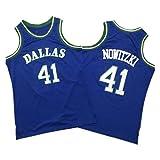 Dallas Mavericks Dirk Nowitzki # 41 Camiseta de Baloncesto de los Chicago Bulls Dirk Nowitzki, Camiseta de Malla sin Mangas con Cuello Redondo, para Hombres Adultos (S-XXL)-Blue-XL
