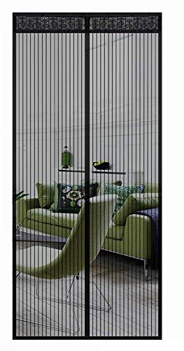 MODKOY Mosquitera Puerta Fibra de Vidrio Adsorción magnética Plegable Circulacion de Aire Cortina Ultrafina Mantiene Mosquitos Fuera FáCil De Instalar para Puertas Pasillos, 70x200cm, Negro