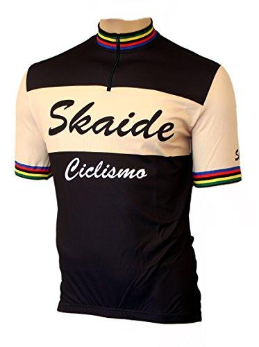 Skaide Radtrikot Ciclismo schwarz/Creme Kurzarm Retro, S bis 6XL (schwarz/Creme, L)