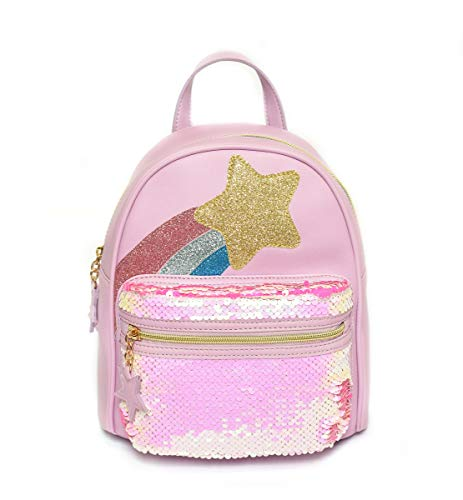 Charming Charlie Kid's Shooting Star Backpack w/Sequin - Adjustable Straps, Zipped Front Pocket - Mauve