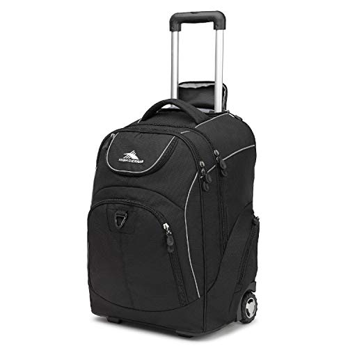 High Sierra Powerglide Lightweight Wheeled Laptop Backpack, fits most 17-inch laptop models, Ideal for High School and College Students Black