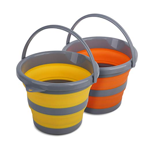 Tiawudi 2 Pack Collapsible Plastic Bucket with 1.32 Gallon (5L) Each, Foldable Round Tub, Space Saving Outdoor Waterpot for Garden or Camping, Portable Fishing Water Pail