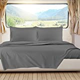 Nestl Bedding Short Queen Sheets, RV Sheets Set for Campers, Deep Pockets Fitted RV Bunk Sheets, 4-Piece 1800 Microfiber Bed Sheet Set, Cool & Breathable, RV Queen Sheets, Charcoal Stone Gray