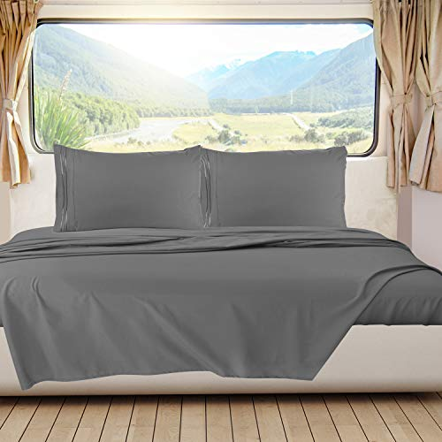 RV/Short Queen Bed Sheets Set Bedding Sheets Set for Campers, 4-Piece Bed Set, Deep Pockets Fitted Sheet, 100% Super Soft Microfiber, Hypoallergenic, Cool & Breathable, Gray