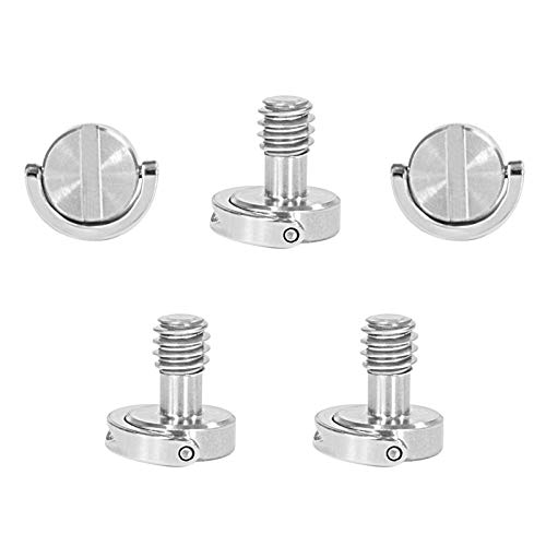 SMALLRIG D-Ring Hinged Screw Quick Release Camera Fixing Screw with Standard 1/4-20 Thread for Camera/Tripod Qr Plate, Pack of 5-1611
