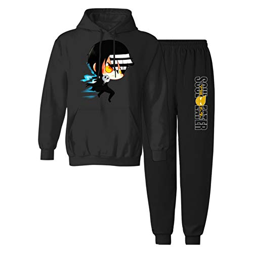 CAPINER Youth Anime S-ou-l Ea-te-R Sweatsuit Sweatpants Jogger Hooded Sweatshirt Sets Tracksuit for Boys Girls Youth XL Black