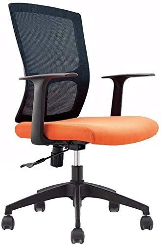 Computerstoel Bureaustoel Hoge rug Executive Draaibaar Ademende mesh-bureaustoel Lendensteun en armleuningen Zwart en oranje