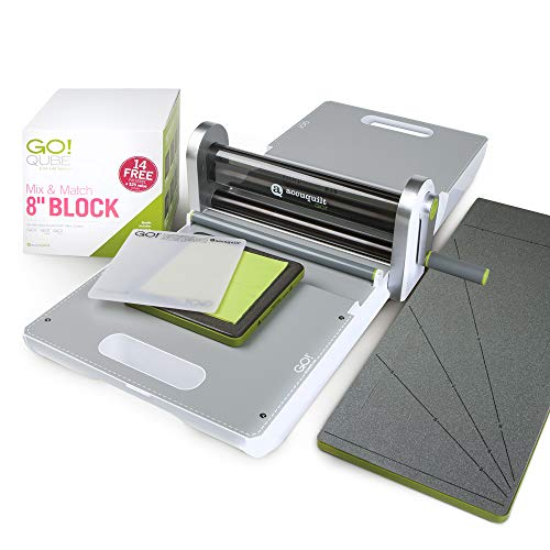 """AccuQuilt Ready. Set. GO! Ultimate Fabric Cutting System with GO! Fabric Cutter, GO! Qube 8"""" Mix & Match Block, GO! Strip Cutter-2 ½"""" (2"""" Finished), GO! Cutting Mats: 6"""" x 6"""" and 10"""" and More."""