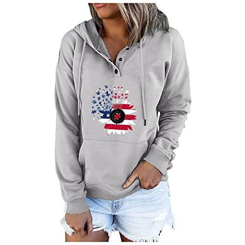 Shopler Sudadera para mujer con estampado de gráficos navideños con botones y cordón para mujer, gris, L