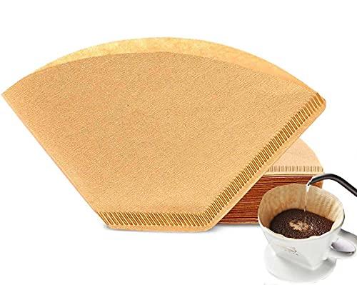 Kaffeefilterpapier, Größe 2, ungebleicht, perfekt für Kaffeemaschinen, Kaffeemühle, Filter, Papier, 100 Stück