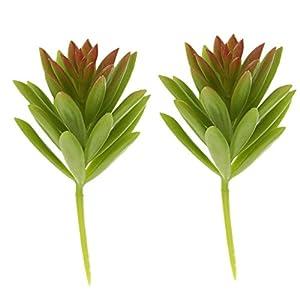 2pcs Artificial Suculenta Campanilla De Nieve Follaje Planta De Plástico Decoración para El Hogar Fucsia – Verde