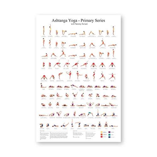 None brand Ashtanga Primary Series Yoga Poster Leinwand Kunstdrucke Yoga Raum Wandkunst Dekor Mädchen Fitness Geschenke Gym Kunst Malerei Dekoration Kein Rahmen-50x70cm