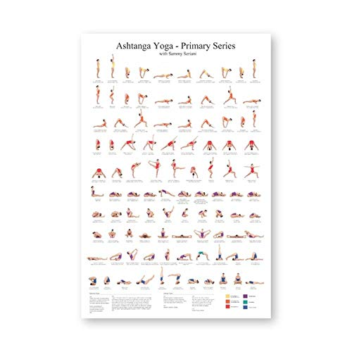 Brandless Ashtanga Primary Series Yoga Poster Canvas Art Prints Yoga Room Wall Art Decor Girls Fitness Gifts Gym Art Painting Decoration 40x50cm Sin Marco