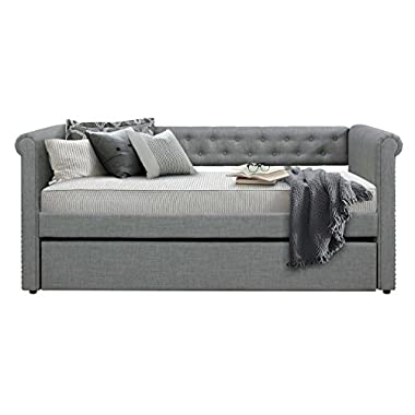 Homelegance Edmund Tuxedo Twin Size Fabric Trundle Daybed, Gray