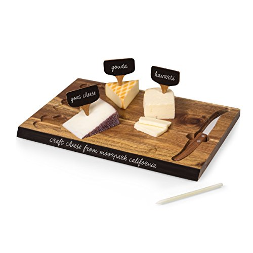 TOSCANA - a Picnic Time Brand Delio Cutting Board and Cheese Tools Serving Set
