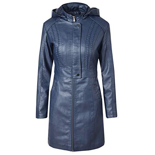 E-girl P1922 - Chaqueta de piel sintética con capucha para mujer azul 42