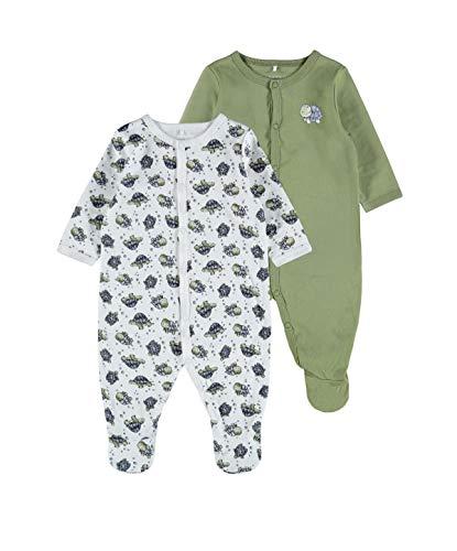 NAME IT Baby-Jungen Nbmnightsuit 2p W/F Turtle Noos Kleinkind-Schlafanzüge, Loden Green, 74 (2er Pack)