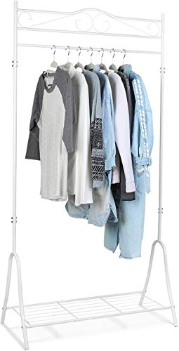Homfa Kleiderständer Kleiderstange weiß Vintage Garderobenständer mit Schuhablage Metall 90x44x176cm