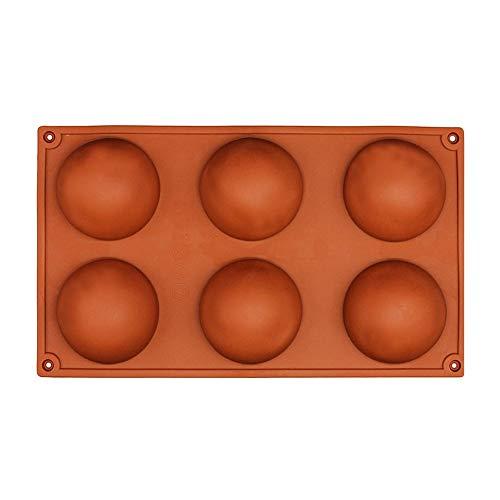 Ndier Silikon-Kuchenformen mit 6 Mulden, große Halbkugel, Halbkugel, Kuppelform, Schokolade, Pudding, Gebäck