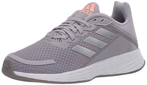 adidas unisex child Duramo Sl Running Shoe, Glory Grey/Silver Metallic/Light Flash Orange, 1 Little Kid US