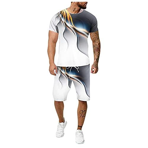 Xmiral T-Shirt Top Camicetta Camicie Pantaloncini Pantaloni Set Uomo Estate Tempo Libero 3D Inkjet Large Size Fitness Outdoor Running Tuta a Due Pezzi (3XL,1arancia)