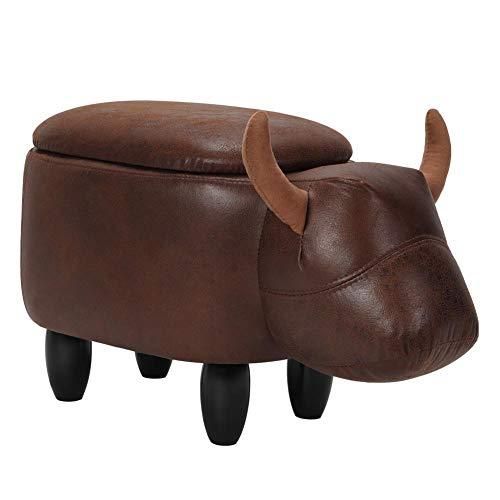Poggiapiedi multifunzionale in pelle PU, sgabello portaoggetti a forma di mucca, poggiapiedi con gambe in legno massello, per adulti e bambini