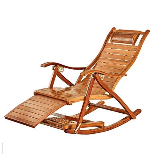 Chaise berçante Pliante Chaise Longue Chaise Relax Chaise réglable Fauteuil berçant pour Personnes âgées, avec Repose-Pieds massable