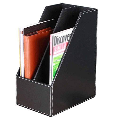 Porta Revistero para Archivos Caja de acabado de datos de dos columnas de cuero Asiento de almacenamiento de escritorio Material de oficina de cuero Soporte for archivos Estante documento Gabinete