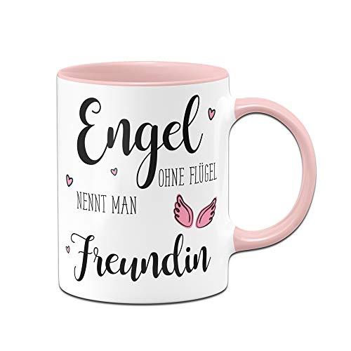 Tassenbrennerei Tasse mit Spruch Engel ohne Flügel nennt Man Freundin - Geschenk für Beste Freundin (Rosa)