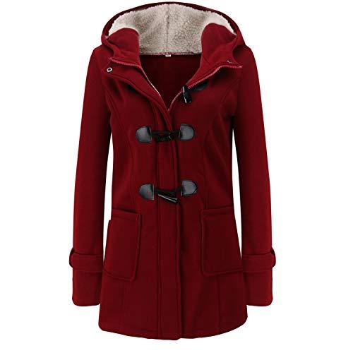 Soluo Women Plus Size Fleece Warm Winter Pea Coat Casual Fleece-Lined Warm Hooded Jacket Long Wool Blended Outwears (Red Wine,XXXX-Large)