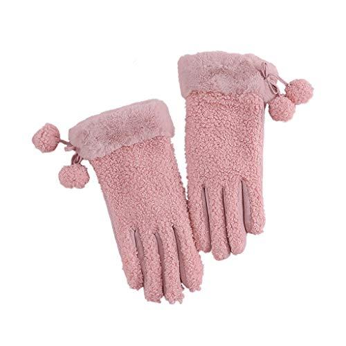 ZXC Home Handschuhe Damen Winter-Winddichtes Cotton Fleece-Material Plus Samt Warm Sport im Freien REIT Screen-Handschuhe, Rosa
