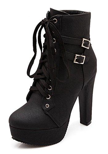 Minetom Damen Worker Boots Einfarbige Schnürsenkel Hohe Absätzen Stiefeletten mit Schnalle Blockabsatz Schuhe Outdoor Stiefel Schwarz EU 39
