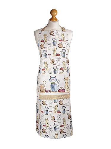 Küchenschürze für Frauen Damen niedlich Katzenmotiv Kochschürze Baumwolle mit Taschen zum Kochen, Katze Geschenk für Katzenliebhaber