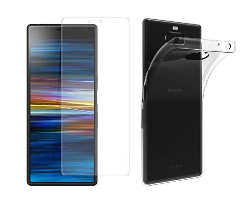 TBOC Pack: Transparent Gel TPU Hülle + Hartglas Schutzfolie für Sony Xperia 10 [6.0 Zoll] - Superdünn Flexibel Silikonhülle. Panzerglas Bildschirmschutz in Kristallklar in hohe Qualität.