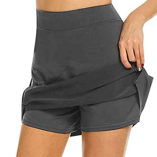 CPSW Faldas de Tenis activas, Falda sin Chafe con Bolsillo Oculto, Falda de Tenis Liviana para Mujer Correr, Entrenar, Practicar Deportes, Golf (Gris, M)