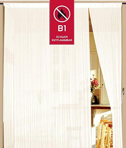 Fadenvorhang 90 cm x 240 cm creme in B1 schwer entflammbar