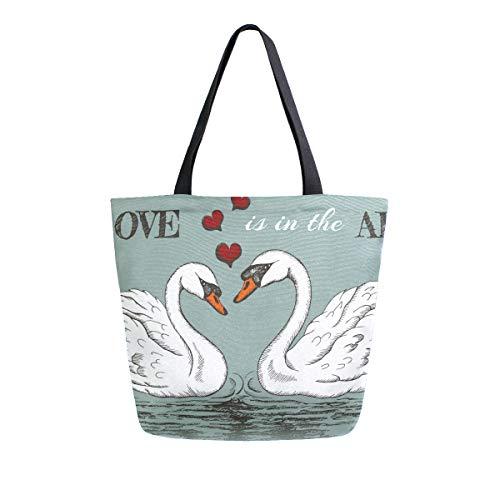 Love is in the Air with Swans Couple Canvas-Tragetasche, wiederverwendbar, für Lebensmittel, Tragetasche mit Griffen