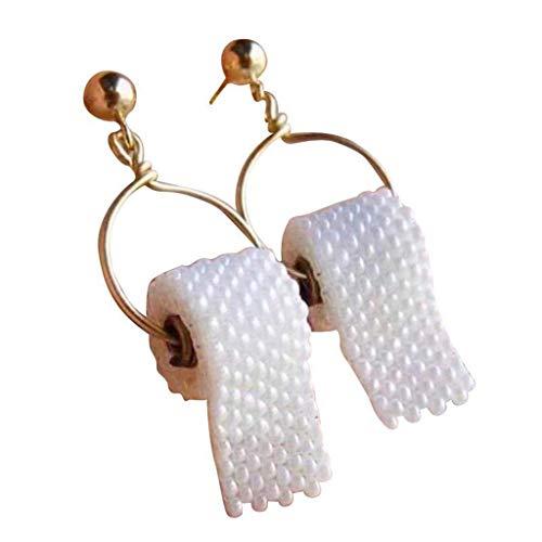 TShopm Kreative Perlen Toilettenpapier Ohrhaken 3D Papier Baumeln Ohrringe Tropfen Ohrringe Modeschmuck Geschenk für Frauen Mädchen