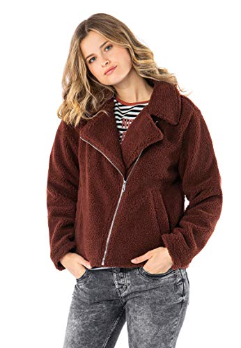 Sublevel Damen Teddy Fleecejacke mit Reverskragen Brown L
