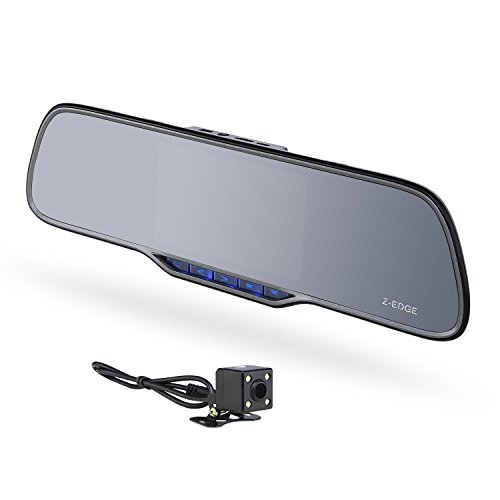 Z-EDGE Z2 Plus Dual Lens Dash Cam, Super HD 1296P Front & 720P Rear 5 Inch IPS Rearview Mirror Recorder, Front and Rear Dash Cam with Backup Camera, 150° Wide Viewing Angle,G-Sensor, 16GB Card