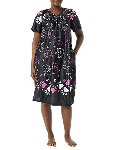 AmeriMark Women's Lounger House Dress - Short Sleeve Patio Dress w/ Side Pockets Midnight Dog Border 2X