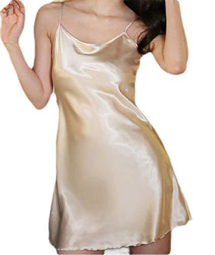 GRMO Women Satin Sexy Solid Color Sleeveless Spaghetti Strap Nightgown Sleep Dress Sleepwear One US M