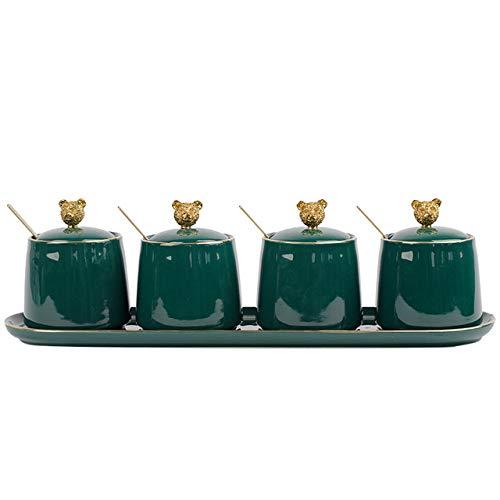 4 stks Nordic Groene Keramische Kruiden Jar Set Keuken BenodigdhedenKruiderij Flessen met Lepel Deksel Zout peper Shaker Spice Container