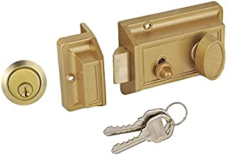 SUMBIN Night Latch Deadbolt Rim Lock,Antique Locks with Keys for Front Door,Gold Finish
