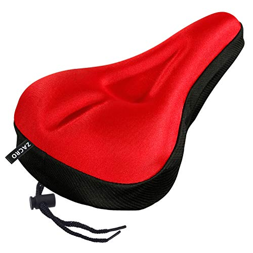 Zacro Gel Bike Seat - Extra Soft Gel Bicycle Seat - Red Bike Saddle Cushion with Black Water&Dust Resistant Cover