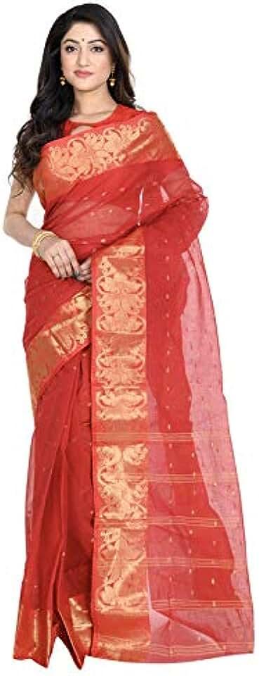 Indian Avihshka Boutique Women's Pure Cotton Bengal Tant Handloom Saree Without Blouse Piece Saree